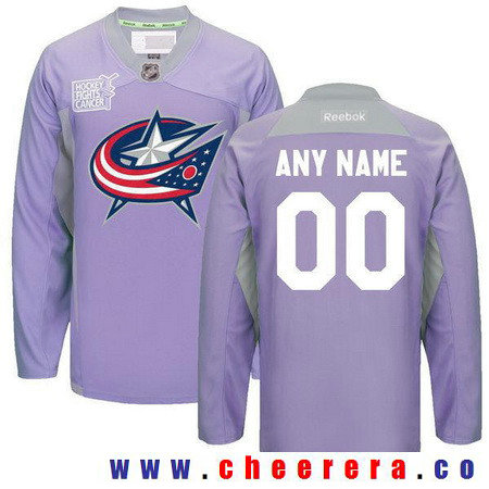 Men's Columbus Blue Jackets Purple Pink Custom Reebok Hockey Fights Cancer Practice Jersey