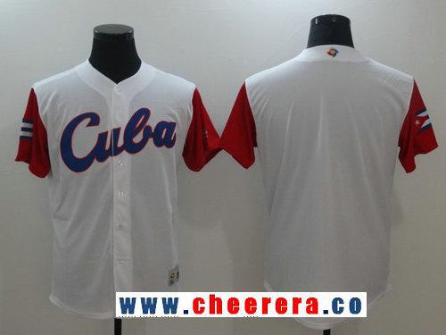 Men's Cuba Baseball Majestic White 2017 World Baseball Classic Blank Team Jersey