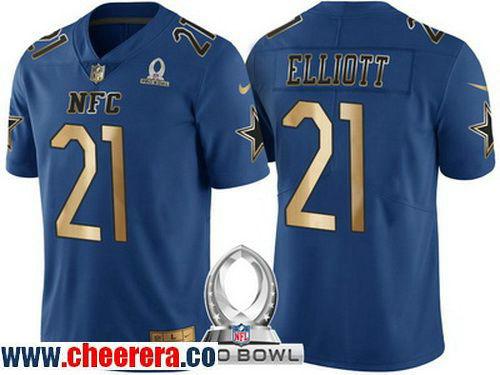 Men's Dallas Cowboys #21 Ezekiel Elliott Navy Blue With Gold NFC 2017 Pro Bowl Stitched NFL Nike Game Jersey