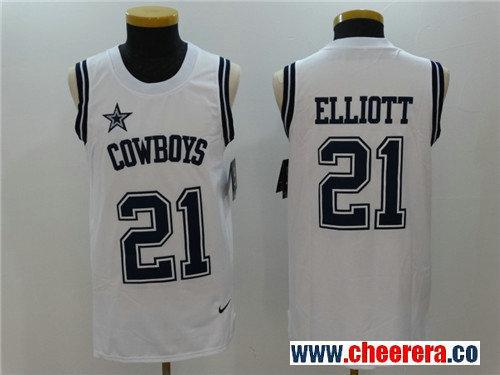 Men's Dallas Cowboys #21 Ezekiel Elliott White Color Rush 2017 Vest Stitched NFL Nike Tank Top Jersey