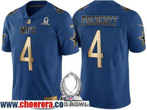 Men's Dallas Cowboys #4 Dak Prescott Navy Blue With Gold NFC 2017 Pro Bowl Stitched NFL Nike Game Jersey