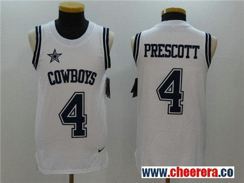Men's Dallas Cowboys #4 Dak Prescott White Color Rush 2017 Vest Stitched NFL Nike Tank Top Jersey