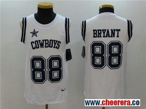 Men's Dallas Cowboys #88 Dez Bryant White Color Rush 2017 Vest Stitched NFL Nike Tank Top Jersey