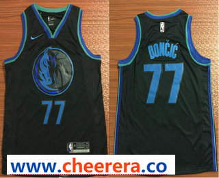 Men's Dallas Mavericks #77 Luka Doncic New Black 2019 City Edition NBA Swingman Jersey