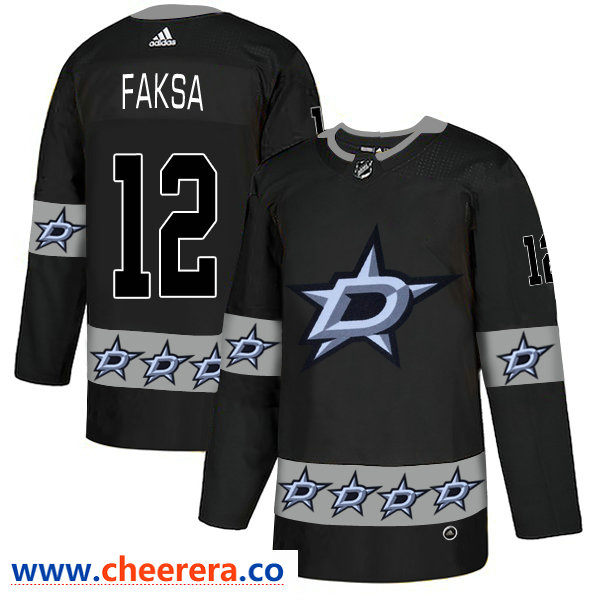 Men's Dallas Stars #12 Radek Faksa Black Team Logos Fashion Adidas Jersey