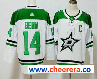 Men's Dallas Stars #14 Jamie Benn White C Patch 2017-2018 Hockey Stitched NHL Jersey