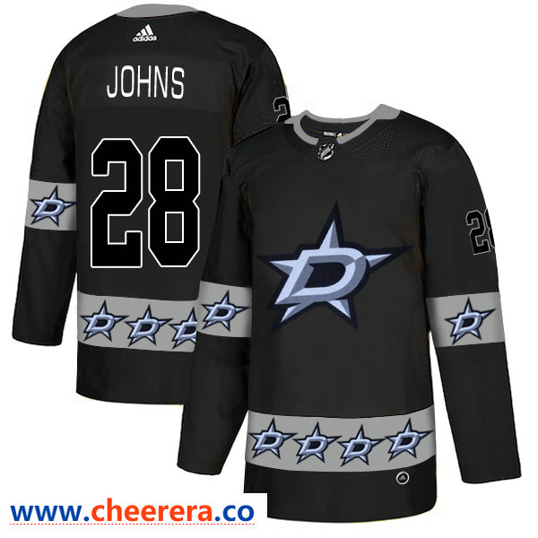 Men's Dallas Stars #28 Stephen Johns Black Team Logos Fashion Adidas Jersey