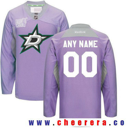Men's Dallas Stars Purple Pink Custom Reebok Hockey Fights Cancer Practice Jersey
