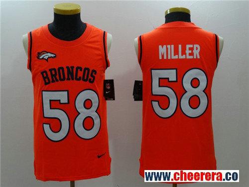 Men's Denver Broncos #58 Von Miller Orange Color Rush 2017 Vest Stitched NFL Nike Tank Top Jersey