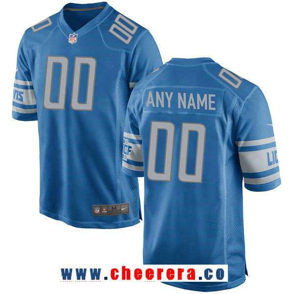 Men's Detroit Lions Nike Blue Custom Team Color Game Jersey