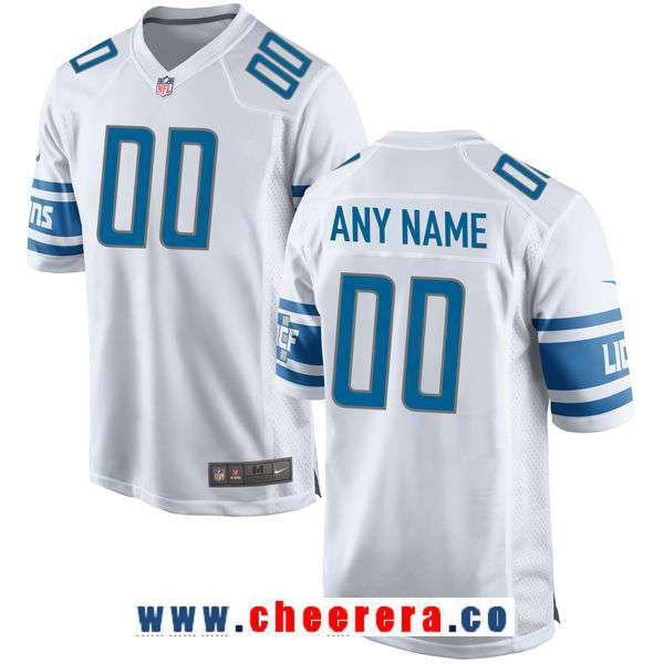 Men's Detroit Lions Nike White Custom Game Jersey
