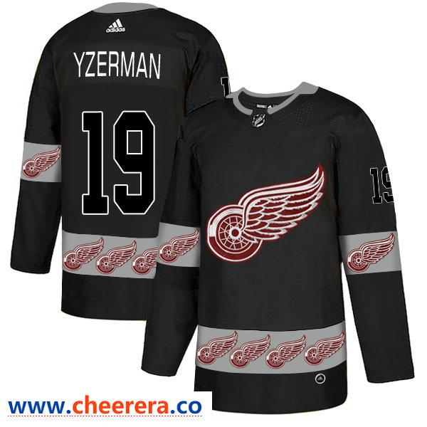 Men's Detroit Red Wings #19 Steve Yzerman Black Team Logos Fashion Adidas Jersey