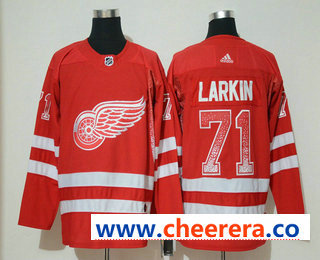 Men's Detroit Red Wings #71 Dylan Larkin Red Drift Fashion Adidas Stitched NHL Jersey