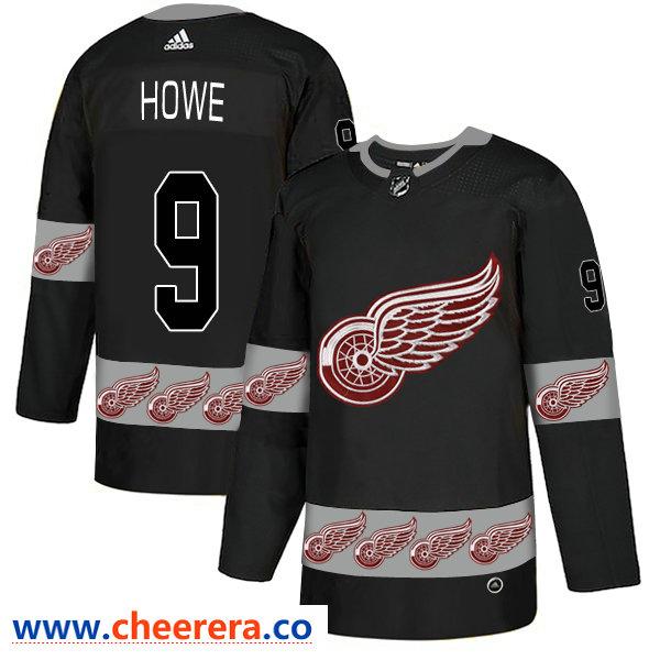 Men's Detroit Red Wings #9 Gordie Howe Black Team Logos Fashion Adidas Jersey
