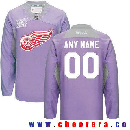 Men's Detroit Red Wings Purple Pink Custom Reebok Hockey Fights Cancer Practice Jersey