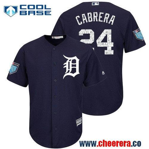 Men's Detroit Tigers #24 Miguel Cabrera Navy 2018 Spring Training Cool Base Jersey