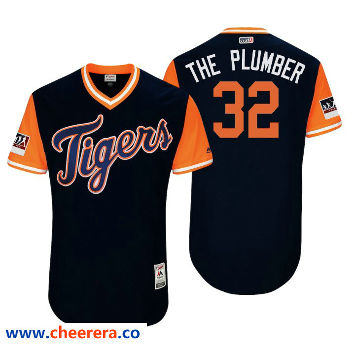 Men's Detroit Tigers Authentic Michael Fulmer #32 Navy 2018 LLWS Players Weekend The Plumber Jersey