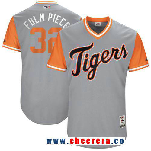 Men's Detroit Tigers Michael Fulmer -Fulm Piece- Majestic Gray 2017 Little League World Series Players Weekend Stitched Nickname Jersey