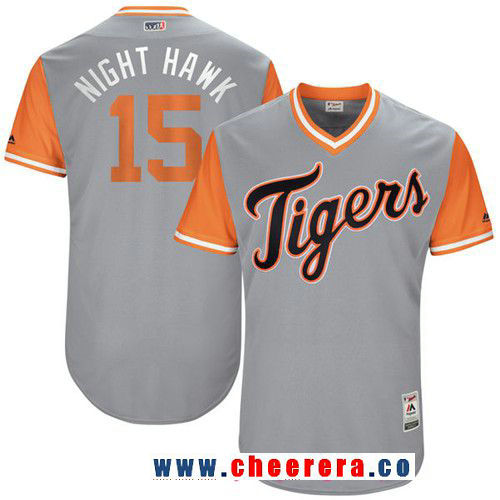 Men's Detroit Tigers Mikie Mahtook -Night Hawk- Majestic Gray 2017 Little League World Series Players Weekend Stitched Nickname Jersey