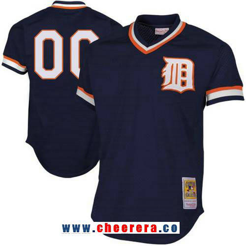 Men's Detroit Tigers Navy Blue Mesh Batting Practice Throwback Majestic Cooperstown Collection Custom Baseball Jersey