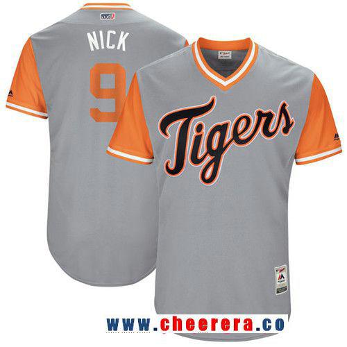 Men's Detroit Tigers Nicholas Castellanos -Nick- Majestic Gray 2017 Little League World Series Players Weekend Stitched Nickname Jersey