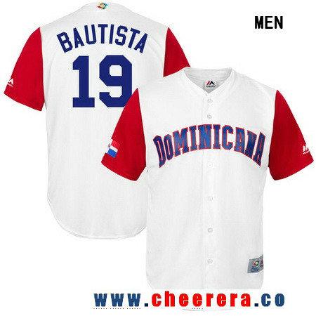 Men's Dominican Republic Baseball #19 Jose Bautista Majestic White 2017 World Baseball Classic Stitched Replica Jersey