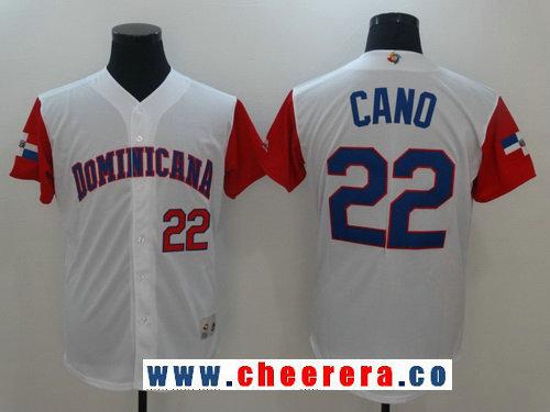 Men's Dominican Republic Baseball #22 Robinson Cano Majestic White 2017 World Baseball Classic Stitched Authentic Jersey