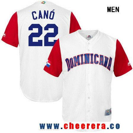 Men's Dominican Republic Baseball #22 Robinson Cano Majestic White 2017 World Baseball Classic Stitched Replica Jersey