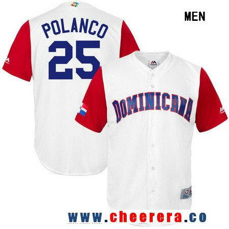 Men's Dominican Republic Baseball #25 Gregory Polanco Majestic White 2017 World Baseball Classic Stitched Replica Jersey