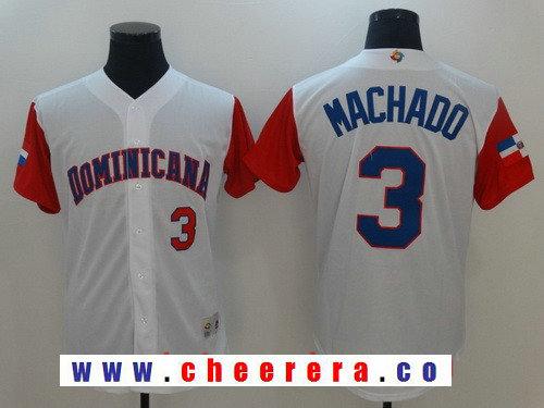 Men's Dominican Republic Baseball #3 Manny Machado Majestic White 2017 World Baseball Classic Stitched Authentic Jersey