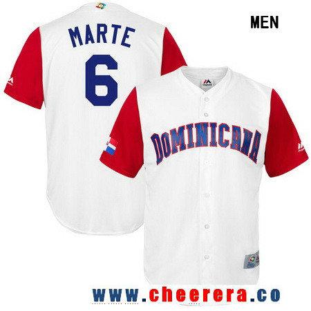 Men's Dominican Republic Baseball #6 Starling Marte Majestic White 2017 World Baseball Classic Stitched Replica Jersey