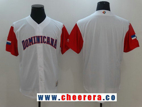 Men's Dominican Republic Baseball Majestic White 2017 World Baseball Classic Blank Team Jersey