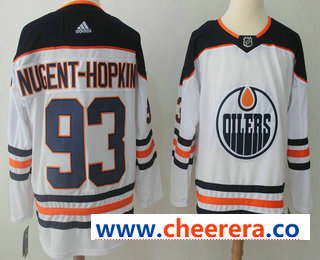 Men's Edmonton Oilers #93 Ryan Nugent-Hopkins White 2017-2018 Hockey Stitched NHL Jersey