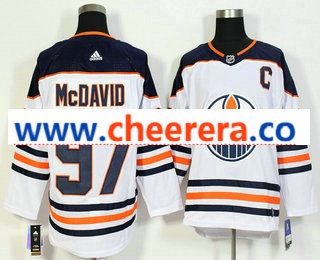 Men's Edmonton Oilers #97 Connor McDavid C Patch White 2017-2018 Hockey Stitched NHL Jersey