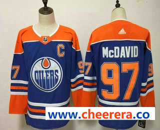 Men's Edmonton Oilers #97 Connor McDavid Royal Blue With Orange Home 2019 Hockey Stitched NHL Jersey