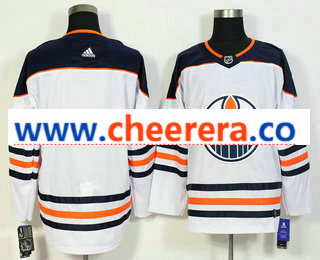 Men's Edmonton Oilers Blank White 2017-2018 Hockey Stitched NHL Jersey