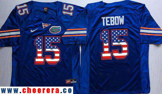 Men's Florida Gators #15 Tim Tebow Royal Blue USA Flag Fashion Stitched Nike NCAA Jersey