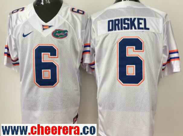 Men's Florida Gators #6 Jeff Driskel White Stitched NCAA Nike College Football Jerse