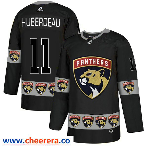 Men's Florida Panthers #11 Jonathan Huberdeau Black Team Logos Fashion Adidas Jersey