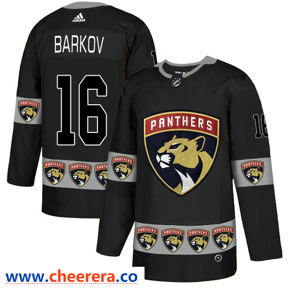 Men's Florida Panthers #16 Aleksander Barkov Black Team Logos Fashion Adidas Jersey