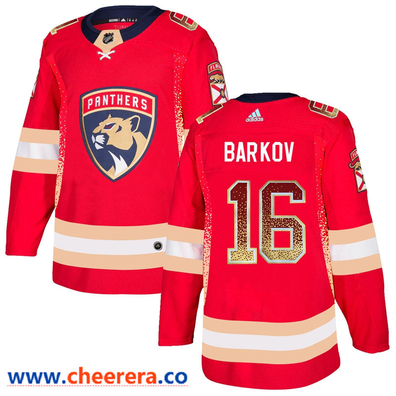 Men's Florida Panthers #16 Aleksander Barkov Red Drift Fashion Adidas Jersey