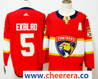 Men's Florida Panthers #5 Aaron Ekblad Red 2017-2018 Hockey Stitched NHL Jersey