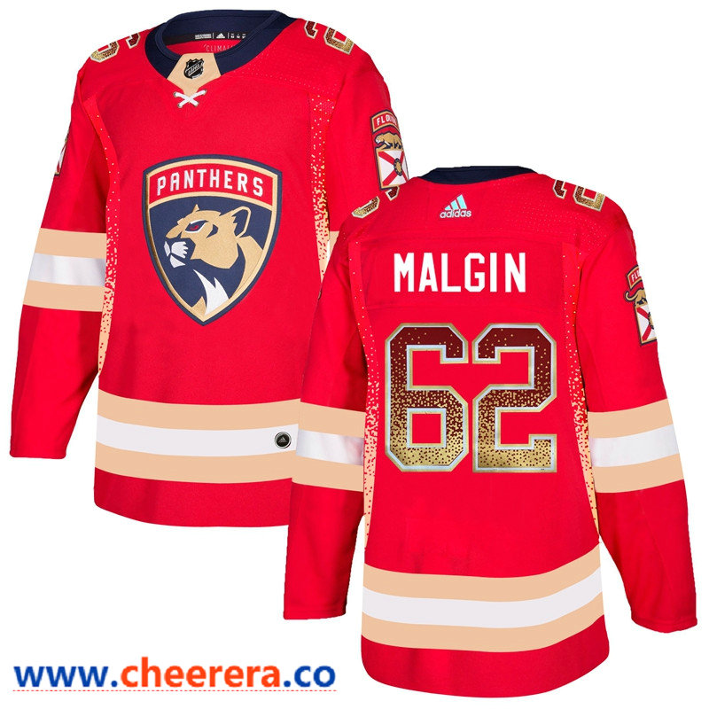 Men's Florida Panthers #62 Denis Malgin Red Drift Fashion Adidas Jersey