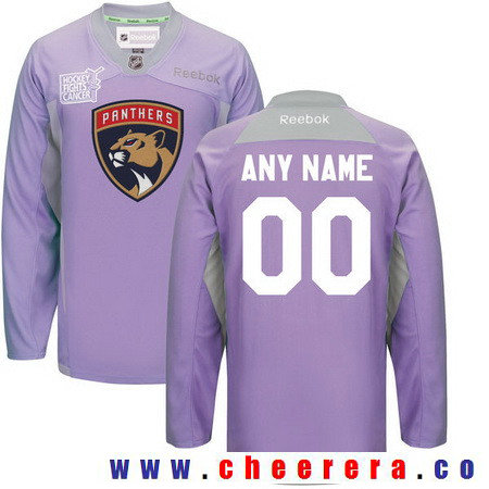 Men's Florida Panthers Purple Pink Custom Reebok Hockey Fights Cancer Practice Jersey