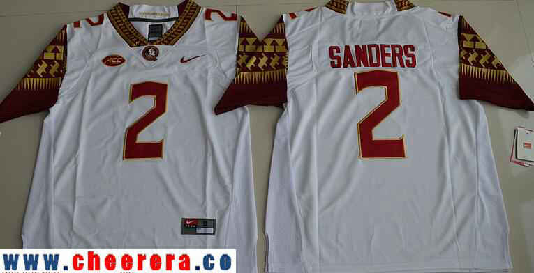 Men's Florida State Seminoles #2 Deion Sanders White Stitched College Football 2016 Nike NCAA Jersey