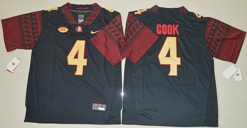 Men's Florida State Seminoles #4 Dalvin Cook Black College Football Nike Jersey