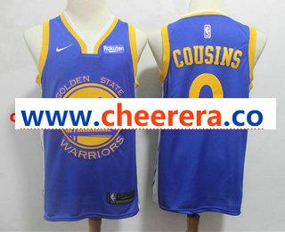 Men's Golden State Warriors #0 DeMarcus Cousins Blue 2019 Nike Swingman NEW Rakuten Logo Stitched NBA Jersey