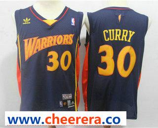 Men's Golden State Warriors #30 Stephen Curry 2009-10 Navy Blue Hardwood Classics Soul Swingman Throwback Jersey