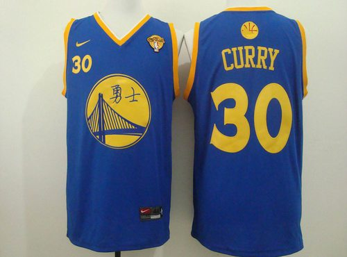 Men's Golden State Warriors #30 Stephen Curry Chinese Blue Nike Authentic Jersey