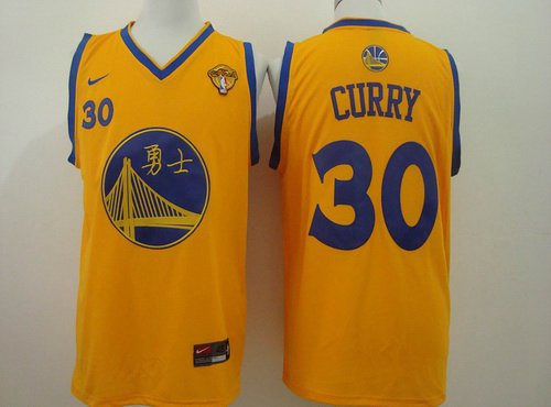 Men's Golden State Warriors #30 Stephen Curry Chinese Yellow Nike Authentic Jersey